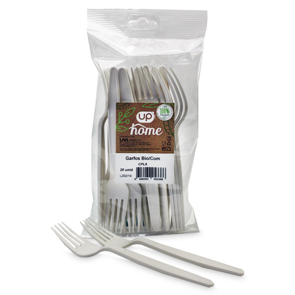 "Garfo 100% Biodegradável UP Home ""CPLA"" branco"